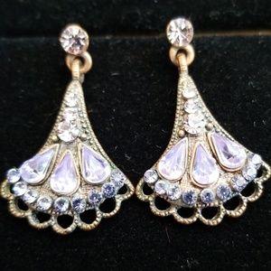 Delicate Vintage Lavender Rhinestone Earrings